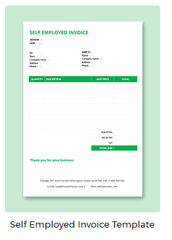 Self Employed Invoice Template - Self employed invoice template
