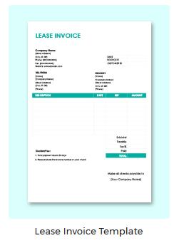 Lease Invoice Template - Lease invoice template