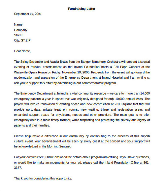 Free Fundraising Letter For Donations Template