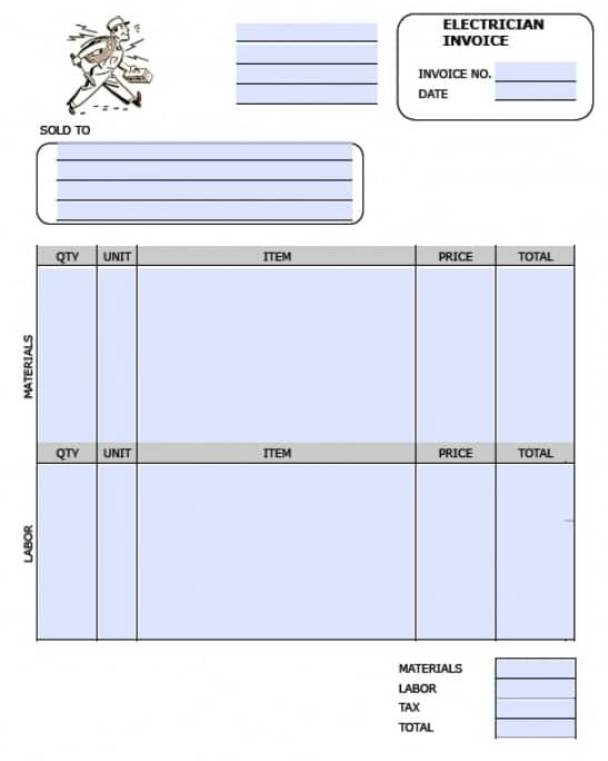 free electrician invoice template