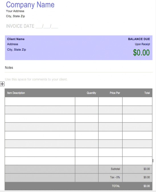 free generic form invoice template